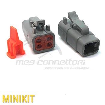 kit connettore  serie ATM 4 vie p.f. con terminali e sec. Lock
