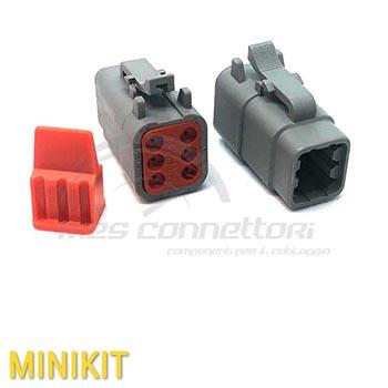 kit connettore serie ATM 6 vie p.f. con terminali e  sec. lock