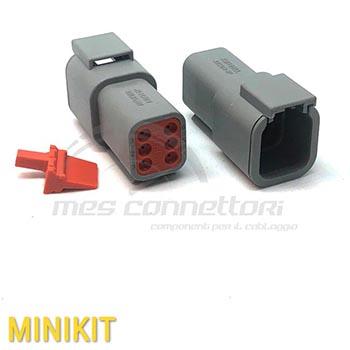 kit connettore serie ATM 6 vie p.m. con terminali e sec. Lock
