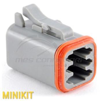 kit connettore serie AT 6 vie p.f. con terminali e  sec. lock