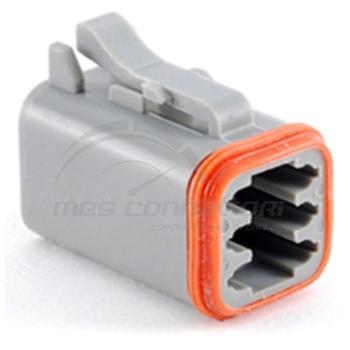 connettore serie AT 6 vie p.f. con sec. lock