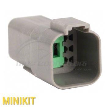 kit connettore serie AT 6 vie p.m. con terminali e  sec. lock