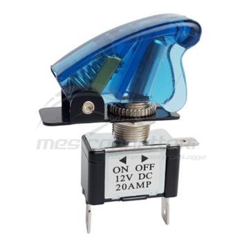 interruttore a leva 12 volt LED blu 3 faston + protezione