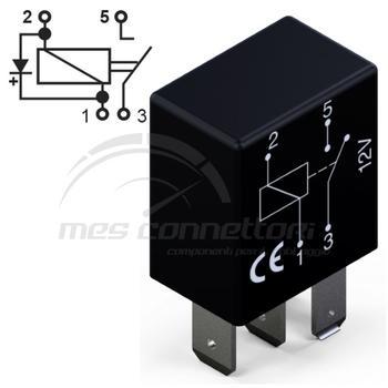 micro rele' 12V  25A con diodo normalmente aperto