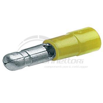spina maschio  preisolata  gialla diametro 5 mm