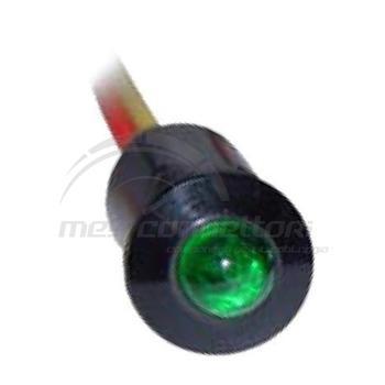 spia led luce fissa a incastro 12/24 volt verde (foro 9.5mm)