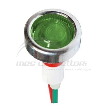 Spia a pannello led verde 12V diametro 19 (foro 10mm)