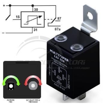 multitimer ad impulso 12V  10A ritardo programmabile 1sec-60min
