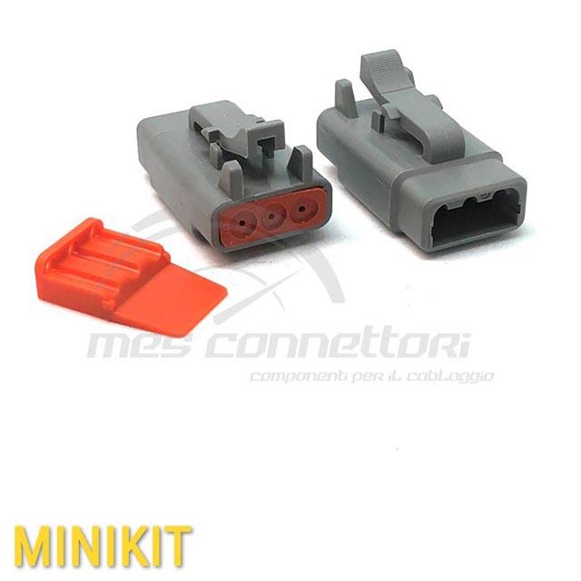 kit connettore  serie ATM 3 vie p.f. con terminali e sec. Lock