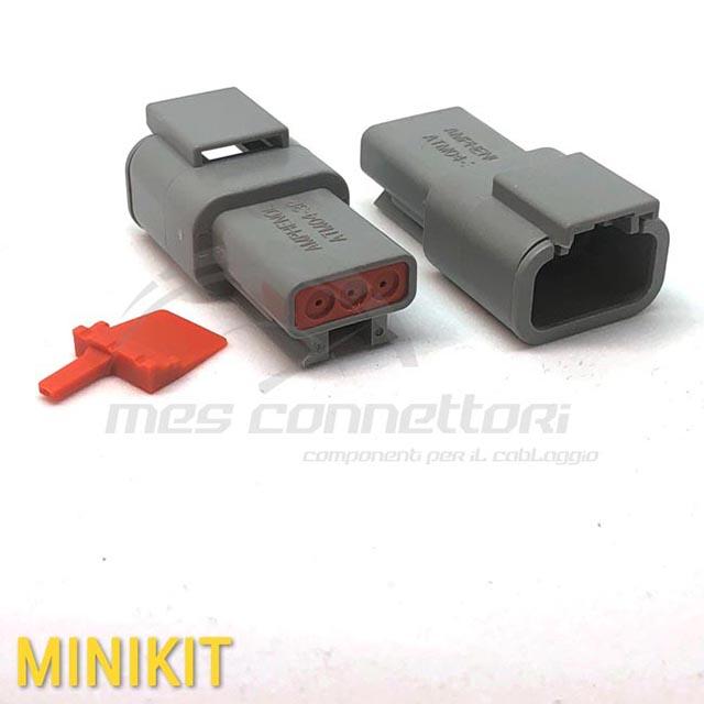 kit connettore  serie ATM 3 vie p.m. con terminali e  sec. Lock