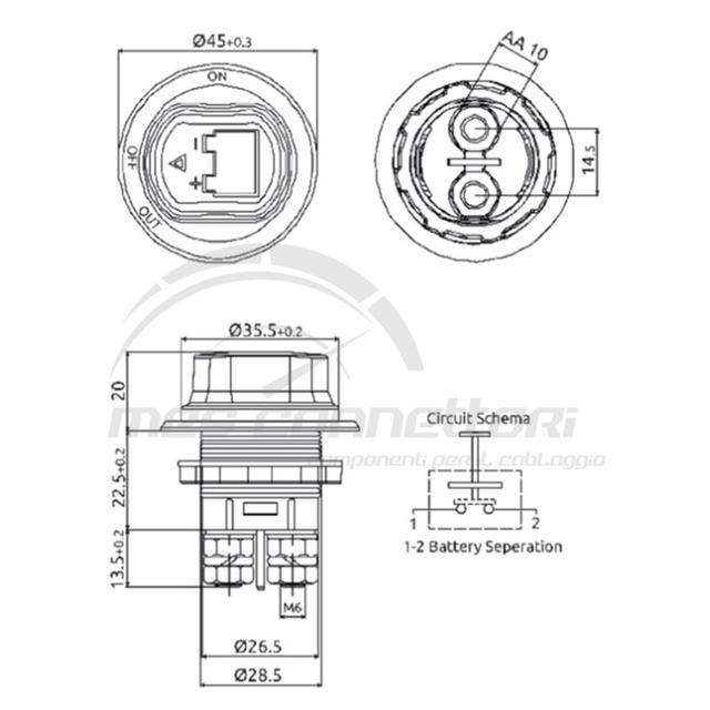 mini staccabatteria 100A da pannello IP56