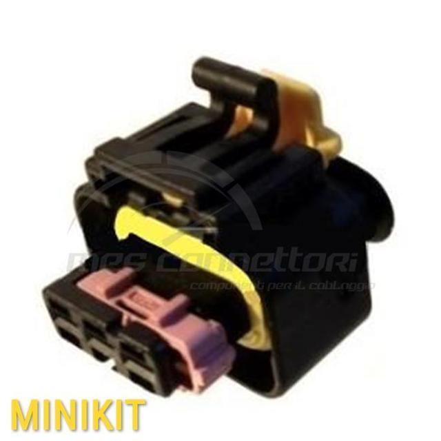 kit connettore MTA 3 vie p.f. con sec. Lock ROSA