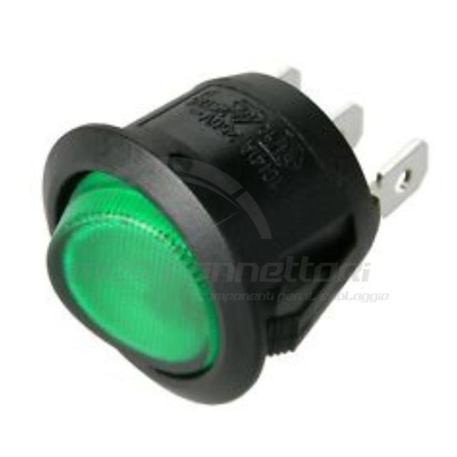 interruttore basculante 12V spia luminosa verde